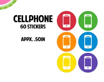 Cellphone Icon Stickers   60 Kiss Cut Stickers   IC057