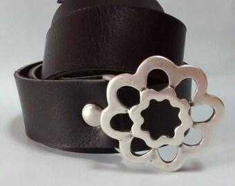 Black Flower Leather Belt