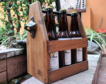 Handcrafted Wooden Beer Carrier with Bottle Opener - Customized - Six Pack