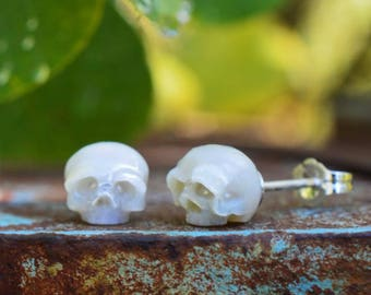 Large Hand Carved Pearl Skull Stud Earrings - Sterling Silver Earrings - Skull Jewelry - Pearl Earrings - Christmas - Gift for Her