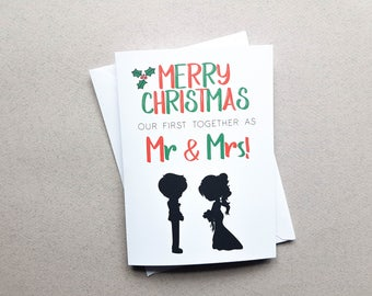 Personalised New Wife Husband Christmas Card, Fiance Card, Mr & Mrs, Xmas Day Gift, Wedding Card, Lesbian, Gay, First Married Christmas