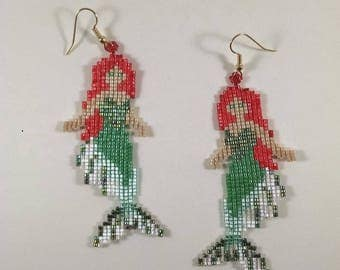 Beaded Mermaid Earrings, Green and Red Mermaid Jewelry, Finned Mermaid Earrings, Off Loom Style Sea Life Earrings, Gift for Her