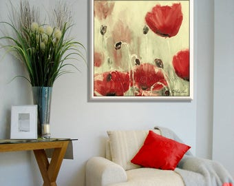 New Home Gift, Modern Painting, Modern Abstract Art, Red Canvas Art, Living Room Art, Red Abstract Art, Large Wall Art, Housewarming Gift