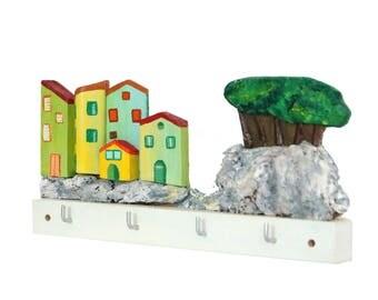 Charming 3D Wood Key Rack, Jewelry Display, Wall Key Holder, Key Hanger, Key Organizer, Gift Idea, Reclaimed Wood, Entry Organizer