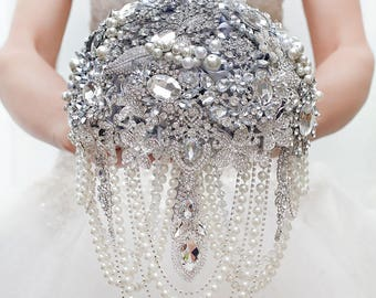 Brooch Bouquet Wedding Bridal Bride Bridesmaid Silver Crystal Custom