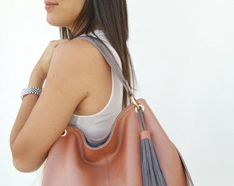 Calf Skin leather for her. Handcrafted Italy Pink Gray Cross Body Shoulder Big City Bag, Elegant bag, Gift for wife anniversary, for lover