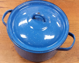 Enamelware ~ Blue Speckled Round Enamel Sauce Pan with Double Handles