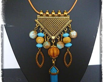 "Bib necklace style ethnic ""Baroda"" genuine leather gold metal, turquoise howlite, glass, ceramics"