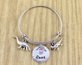 Personalized Little Girls Dinosaur Bracelet • Girls Dinosaur Bangle • Girls Name Bracelet • Brontosaurus & T-Rex • Kids Birthstone Jewelry