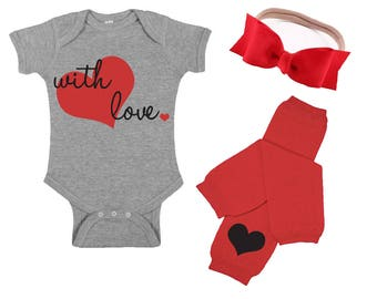 Valentine's Day Shirt for Baby - 1st Valentine's Outfit - Valentine's Day Gift -  Valentine Hair Bow -  Baby Legwarmers - With Love Shirt