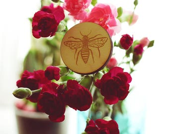 NEW - Bumble Bee Brooch - Wooden Brooch - Limited Edition