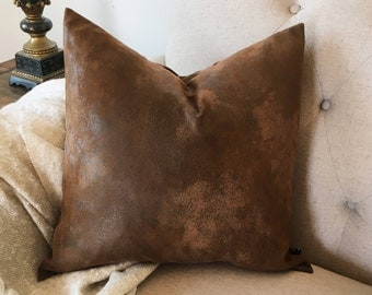 faux leather pillow cover distressed aged brown 20x20 18x18 16x16 toss cushion sofa throw #429 FlossieandRay