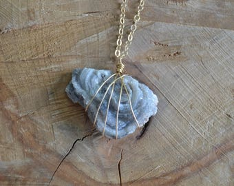 Sparkly Blue Chalcedony Necklace // Gold Fill Chain // Calming and Balancing // Soothes Anxiety // Panic // Worry // Truth // Throat Chakra