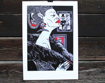 Linocut SIN Sheet 8/ Portrait/ People/ Graphic/ Picture/