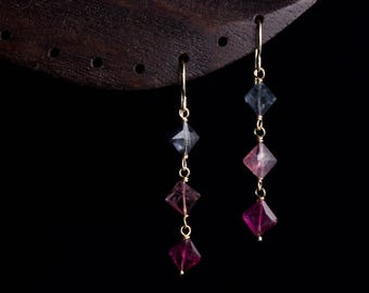 Tri-color Tourmaline Earrings by Ellie Bunny Jewelry