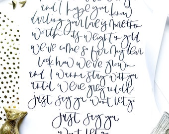 Just say you won't let go digital download// song calligraphy// quote// calligraphy
