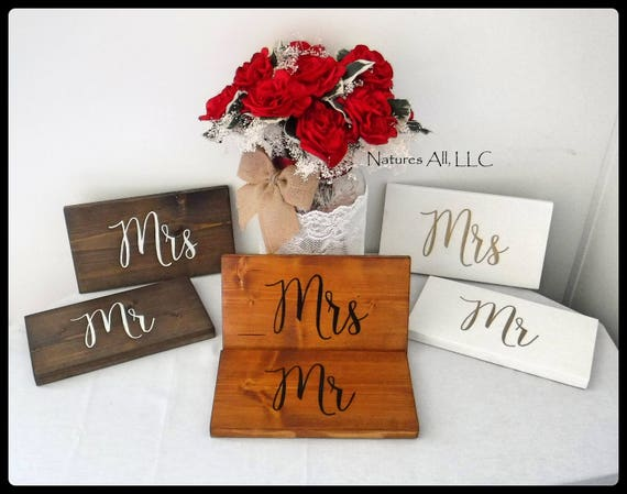 Rustic Wedding Sign/Mr & Mrs Chair Signs/Mr Mrs Wedding Sign/Wood Sign For Bride And Groom Chairs/Rustic Reception Hand Painted Wedding Sign