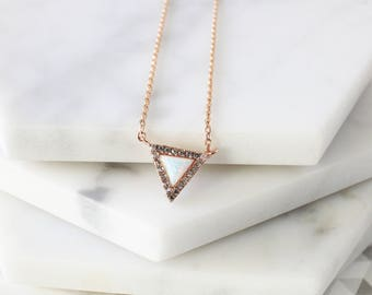 Triangle Opal Stone Rose Gold  Necklace, Rose Gold Triangle Necklace,Bridesmaid Gift,Gemstone Necklace,Birthday Gift- 4090K