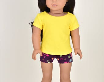 Basic Top 18 inch doll clothes Short Sleeve Yellow