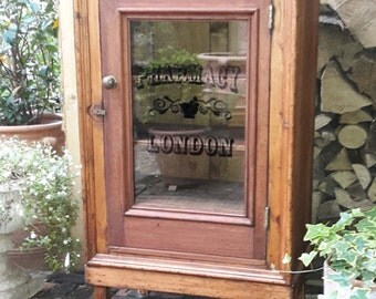 Vintage Glass Fronted Glazed Pharmacy or Bathroom Cabinet/Cupboard, Shelved Storage