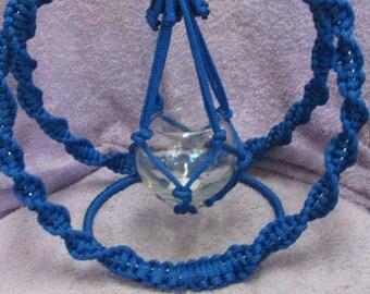 Handmade Blue Macrame Swinging Plant (Potpourri) Holder