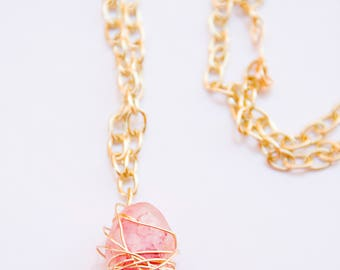 Pink Gem Gold Necklace
