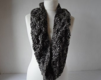 unisex knit snood, chunky neck-warmer, brown infinity scarf, Jacob wool cowl, knitted circle scarf, grey brown snood, basket-weave cowl