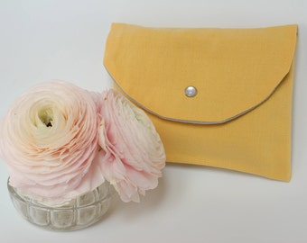 Yellow pocket with flap/storage bag, for handbag - yellow - made from vintage fabric