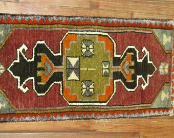 Vintage Turkish Yastik Rug 1'5''x3''