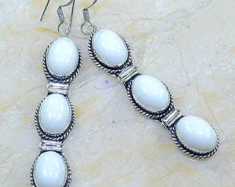 "White Jade Sterling Silver 3 1/4"" Dangle Earrings"