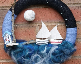 Ocean Wreath. Ocean Room Decoration. Wool Wreath. Sea View Wreath. Yachts at Sea. Hand Crafted Ocean Wreath. Sailing At Night. Sky At Night.