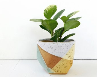 Ceramic Planter in Mint Green and Yellow / Modern Pottery for Succulents, Cacti or House Plants / The Rise Planter / READY TO SHIP