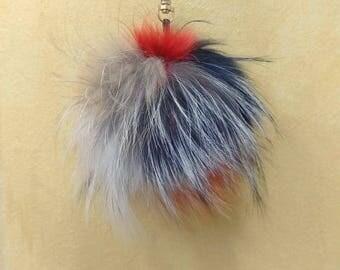 Unique Fox Fur Pom Pom, Bag Pom Pom,Fur keychain F688