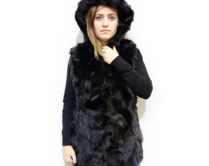 Black Fox Pieces Vest,Ideal for Leather Jacket,Christmas gift F168