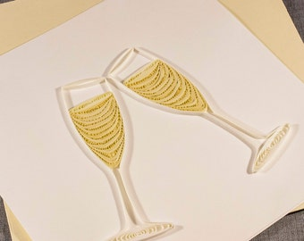 3D Blank Quilling Wedding Card Champagne Congratulations Cheers Quilling Card Quilled Card