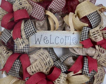 Country Welcome Burgundy Black and Burlap Wreath with Rusty Tin Stars; Primitive Wreath; Country Wreath; Rustic Wreath; Black Burgundy Beige