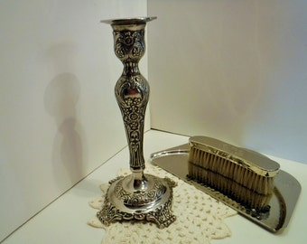 Vintage Silver Plate Candlestick with Embossed Floral Design, Vintage Silver Plate Candlestick, Silent Butler and Brush Sold Separately