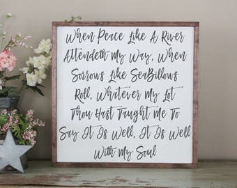It Is Well With My Soul Framed Wood Sign, When Peace Like a River Distressed Wood Sign, It Is Well With My Soul Sign, Spiritual Sign, Hymn