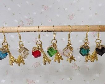 Gold Plated Dangle Eiffel Tower Earrings. Fashion Jewelry. Dangle Earrings. Gold Plated. Dangle Hook Earrings.