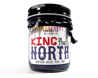 King in the North - Book Candle - Bookish Gift - 8oz Soy Candle - LemonCakes Candle Co - Northern Woods, Musk, Mint