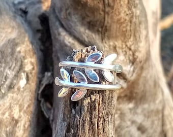 Sterling Silver Leaf Ring - Floral Ring - Silver Branch Ring - All Handmade US5 to US14
