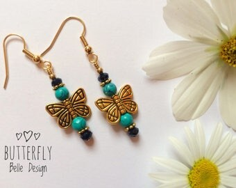 Turquoise Gemstone Earrings. Butterfly earrings. Butterfly Drop Gold Earrings. December birthstone. Gift for her.