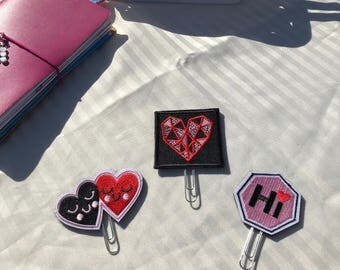 Valentines Day Heart Planner Clips for Planners and Travelers Notebooks TN
