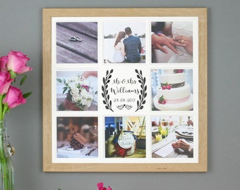 Personalised wedding photo frame, Wedding collage frame, Multi photo wedding frame, Mr & Mrs photo frame, custom wedding gift