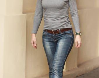 Grey jersey blouse sizes US2-US14, Casual jersey blouse, Jersey top, Casual jersey top, Long sleeve top, Versatile blouse, Code: Gabi-01
