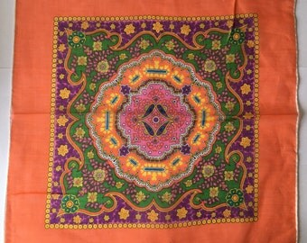 Kreier 100% Cotton Handkerchief - Beautiful Design in Orange, Pink and Green - New and Unused From Vintage 1970 Stock