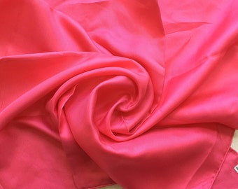 Vintage Pure Silk Small Scarf/Handkerchief  - Cerise Pink - by KREIER of Switzerland - Hand Hemmed Perfect Unused from 1970s Stock