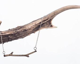 Bronze Woodland Necklace - Twig Nature Forest Woods Boho