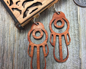 Laser cut wood earrings #14