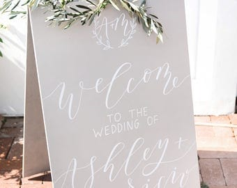 Wedding welcome sign, painted welcome sign, modern calligraphy, a-frame welcome sign, sandwich board, sandwich sign, wedding a-frame sign